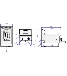Freidora eléctrica gama snack Edenox 8 litros resistencia elevable SFE-40E