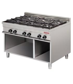 Cocina a gas 6 fuegos 6x8kw 1275x900x900h mm GR931