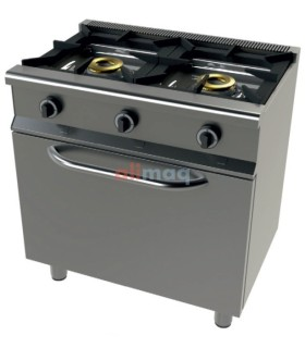 Cocina a gas con horno GN1/1 4,5 Kw, 2 fuegos 8+8 Kw SerIe 550 JUNEX 6201/1