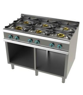 Cocina a gas con mueble de 6 fuegos 2x8+4,5+3x6 Kw SerIe 700 JUNEX FO7N600