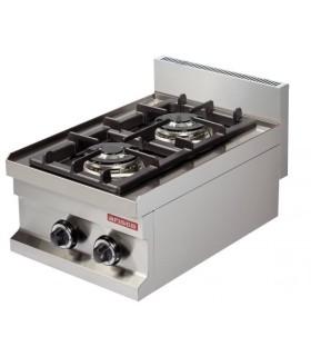 Cocina a gas sobremesa 2 fuegos 2x3,6kw 400x600x265h mm GC604
