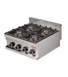 Cocina a gas sobremesa 4 fuegos 4x3,6kw 600x600x265h mm GC606